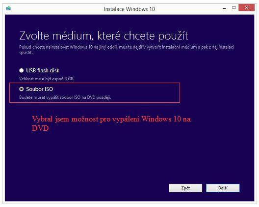 Zvolíme médium na které budeme Windows 10 ukládat