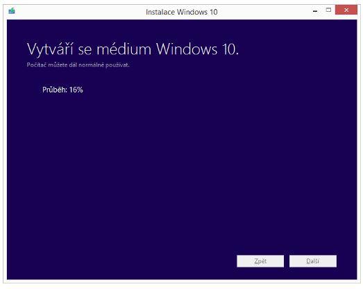 Proces vytváření média Windows 10