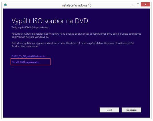 Vypálení Windows 10 otevřením vypalovačky - klikneme na odkaz v rámečku