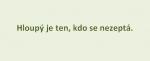 [citát] Hloupý je ten, kdo se nezeptá …