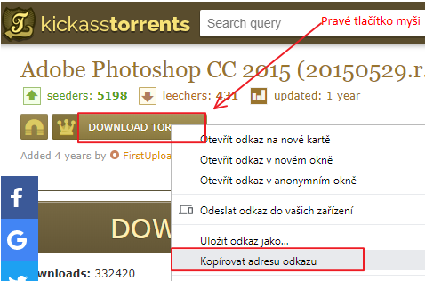 Stahujeme program PhotoShop pomocí torrentu