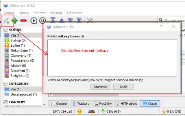Ukázka jak vložit torrent do programu qBittorrent
