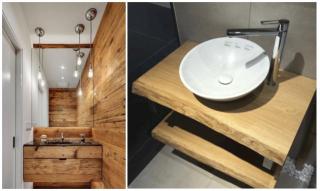 Ukázky dřeva v koupelně: obklad na zdi, deska pod umyvadlem nebo skříňka.