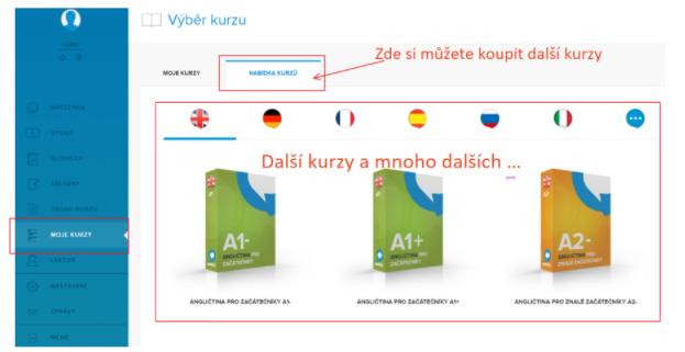 Koupení dalšího kurzu v Online Jazycích