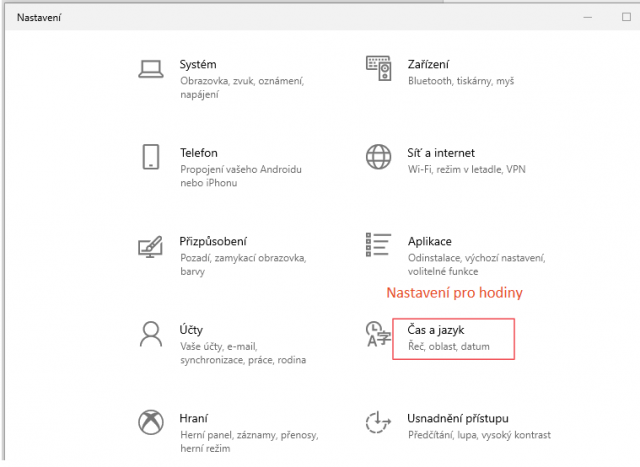 Nastavení času ve Windows 10