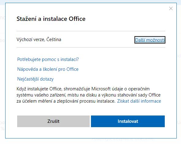 Stažení instalačního souboru Office 2019 pro domácnosti a podnikatele