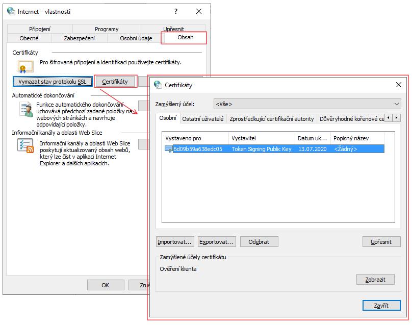 okno: Internet - vlastnosti , které potřebujeme pro zobrazení certifikátu ve Windows 10
