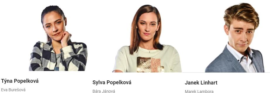 Hlavní herci seriálu Slunečná - Týna Popelková, Sylva Popelková a Janek Linhart