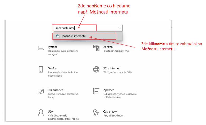 okno Nastavení ve Windows 10 - možnosti internetu