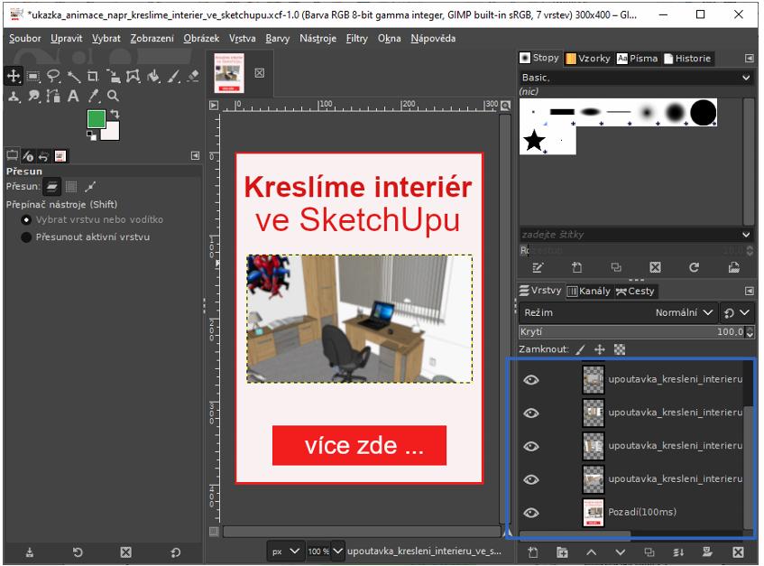 ukázka celého prostředí v GIMPu