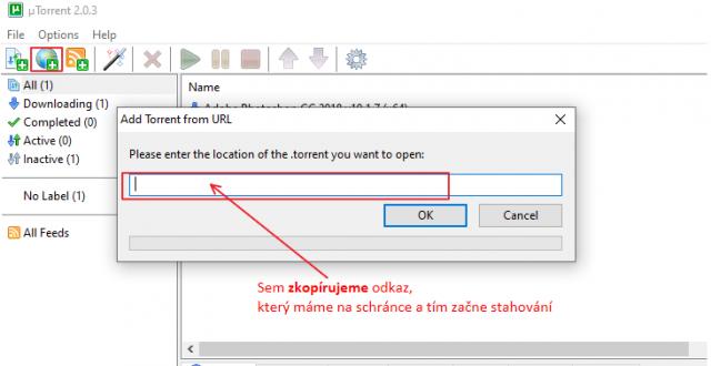 Otevření programu uTorrent a vložení odkazu pro stažení programu