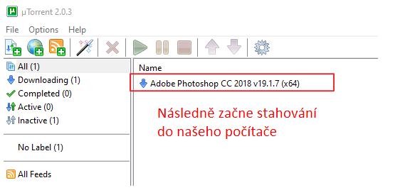 Stahování programu PhotoShop pomocí torrentů