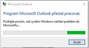Chyba při spuštění MS Outlook - Outlook přestal pracovat.