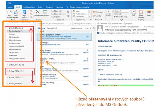 Nove uspořádaní datových souborů MS Outlook.