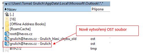 Ukázka souborů OST pro přivedený Exchange účet do MS Outlook.
