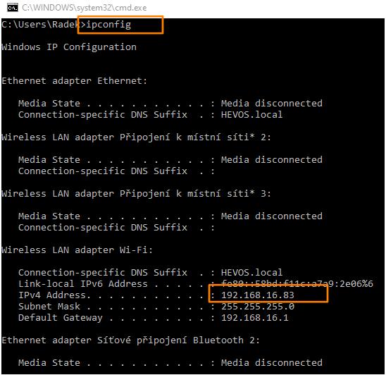 Příkazový řádek ve windows pro zjištění IP adresy.