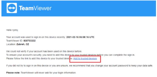 Odkaz v emailu kde po kliknuti na tento odkaz přidáme zařízení do účtu TeamViewer.