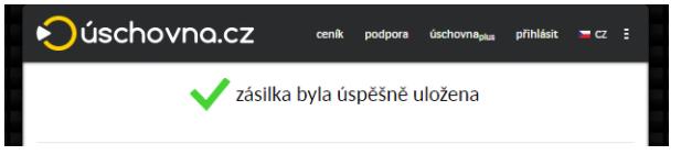 Úspěšně odeslán soubor do uschovny.cz . Následně bude poslán odkaz příjemci do emailu.