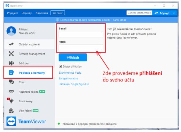 Ukázka přihlášení do účtu na TeamViewer