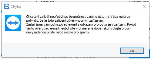 Informativní okno, které nás informuje o potvrzení odkazu v emailu - tímto přidáme další PC do účtu.
