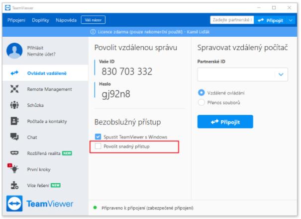 Spuštění Teamvieweru pro přidání dalšího PC do účtu.