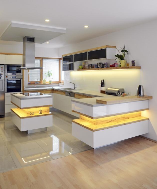 Ostrůvek pomáhá oddělit kuchyň od obývacího prostoru.