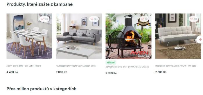 Nejhledanější produkty z vyhledávače nábytku Diano.