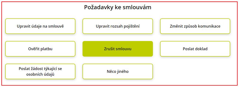 Seznam všech webových formulářů u direct pojišťovny.