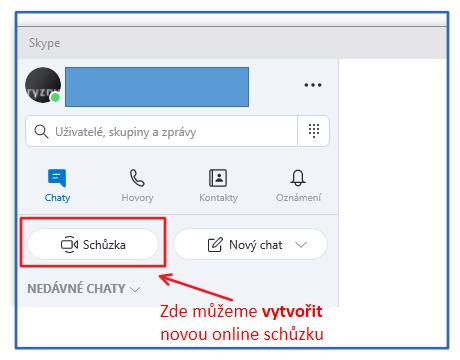 Vytvoření online schůzky pomocí programu skype - použijeme tlačítko Schůzka.