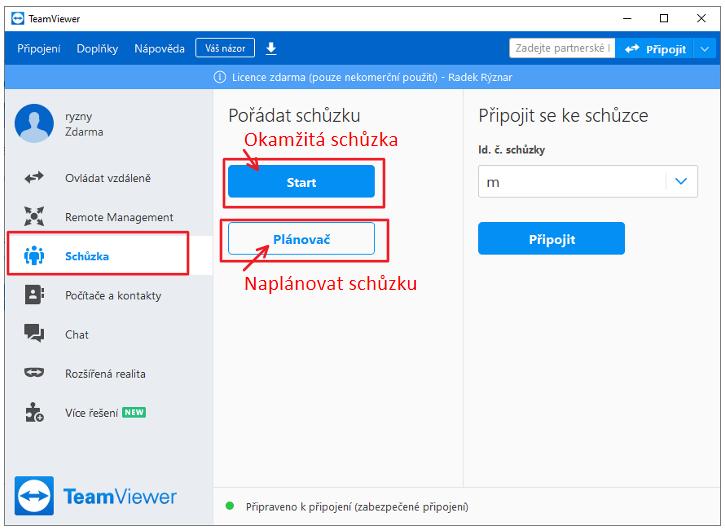 Vytvoření online schůzky v programu TeamViewer