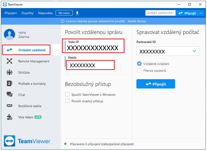 Vytvoření vzdálené plochy v programu TeamViewer