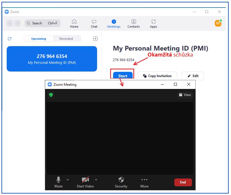 Vytvoření okamžité schůzky v programu Zoom.
