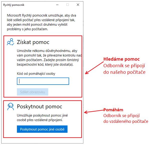 Ukázka rychlého pomocníka v programu Windows 10